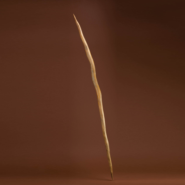 Wooden thrusting spear (replica) from site in Schoningen, Germany.  Date:  about 400,000 years old.